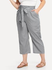 Plus Self Tie Waist Striped Pants