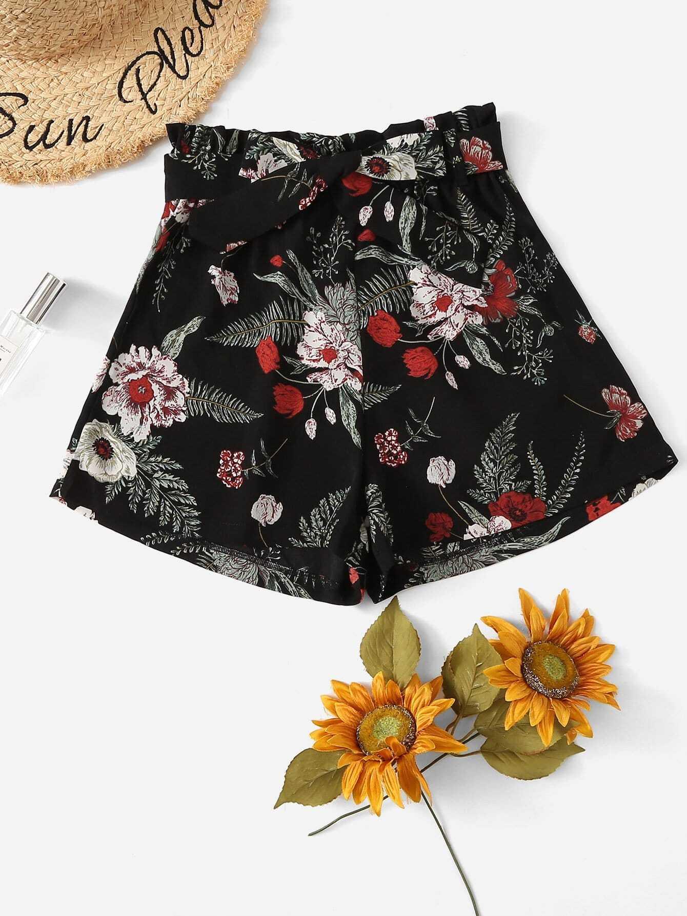 Self Tie Waist Floral Skirt self tie floral