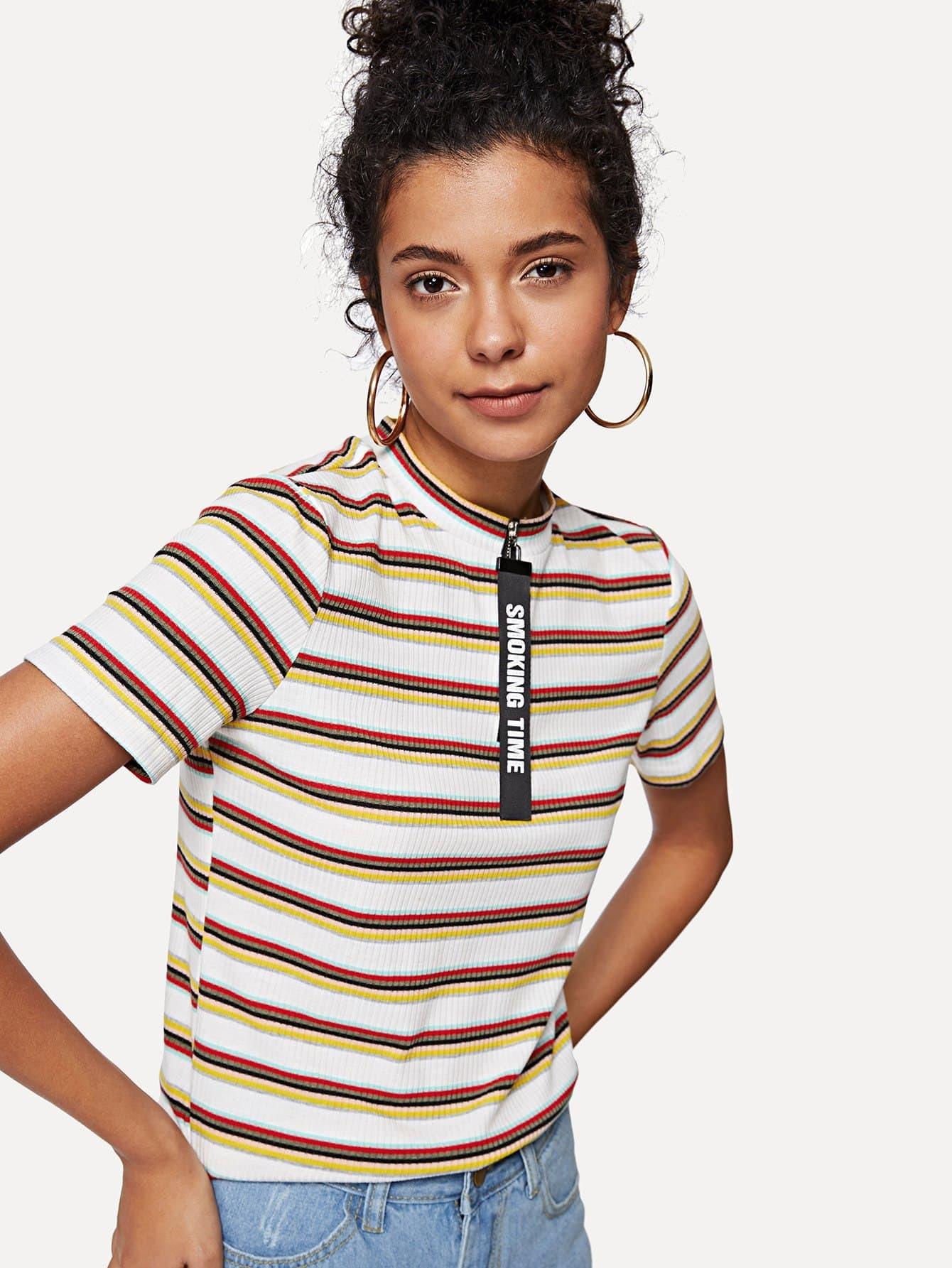 Striped Ribbed Zip Up Tee ribbed zip up jacquard cardigan