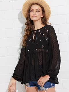 Embroidered Sheer Polka Dot Smock Top