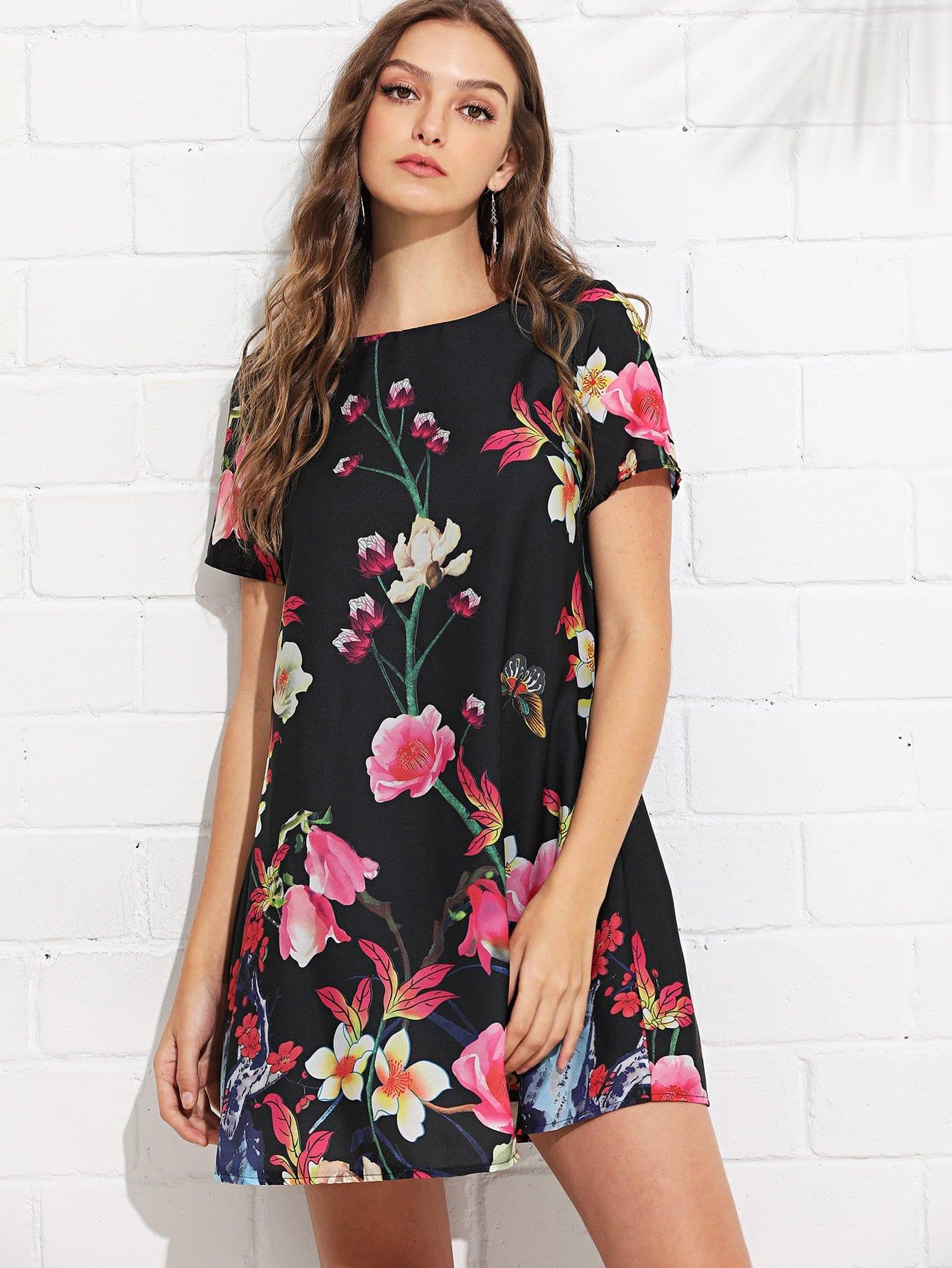 Botanical Print Swing Dress scalloped edge botanical print dress