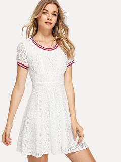 Striped Trim Floral Lace Dress