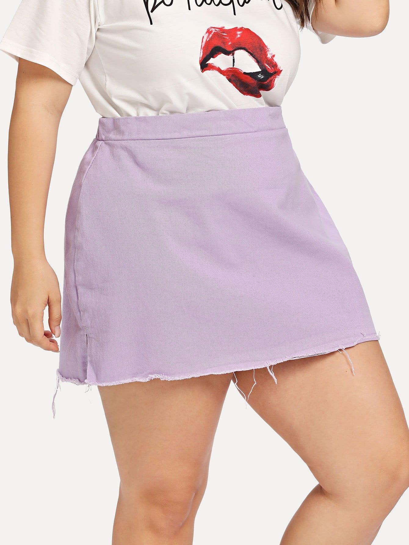 Slit Side Raw Hem Denim Skirt girls single breasted raw hem skirt