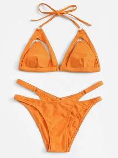 Cutout Detail Cross Triangle Bikini Set