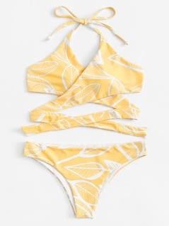 Leaf Print Cross Wrap Bikini Set