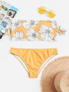 Flower Print Cold Shoulder Bikini Set