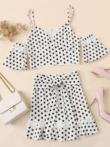 Polka Dot Cold Shoulder Top & Skirt Co-Ord