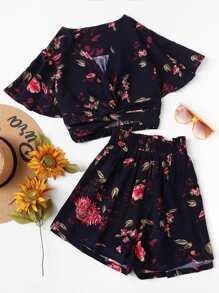 Flutter Sleeve Twist Front Top and Wide Waist Shorts Set