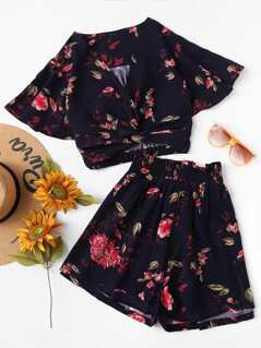 Flutter Sleeve Twist Front Top and Wide Waist Shorts Set