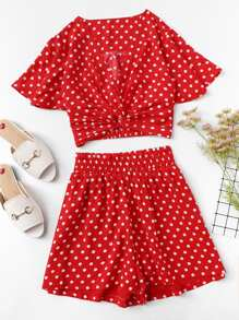 Polka Dot Twist Front Top and Wide Waist Shorts Set