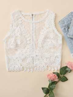 Embroidered Sheer Crop Tank Top