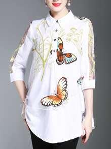 Butterfly Print Mesh Contrast Shirt