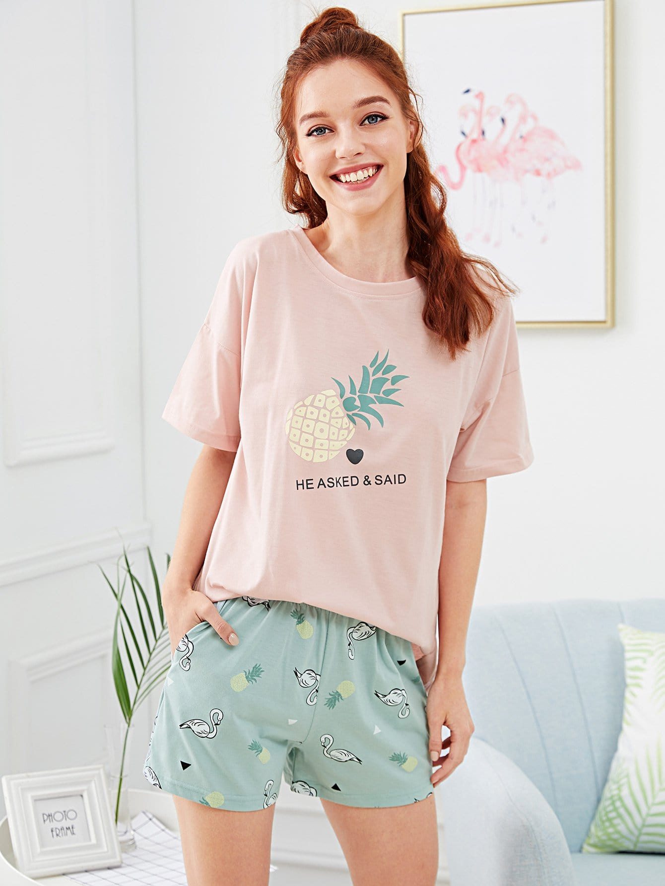 Pineapple & Letter Print Pajama Set