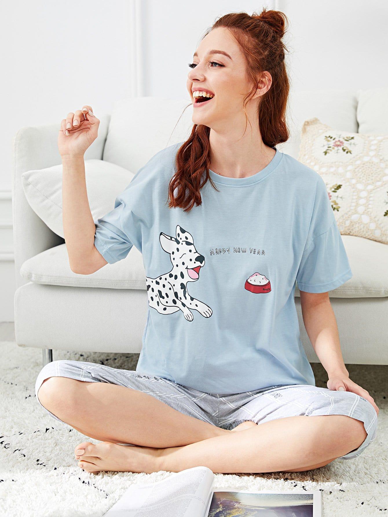 Купить Комплект пижамы с полосками и принтом собачки и надпись, Poly, SheIn