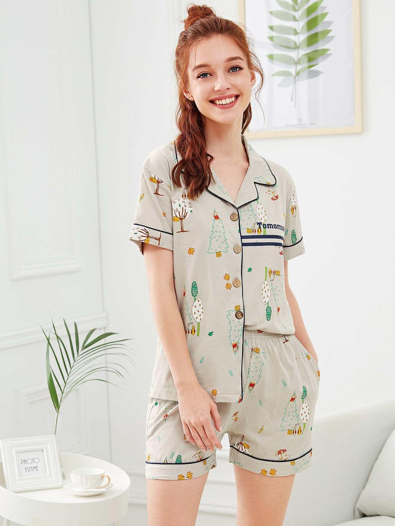 Cartoon Print Contrast Binding Pajama Set contrast binding embroidered long pajama set