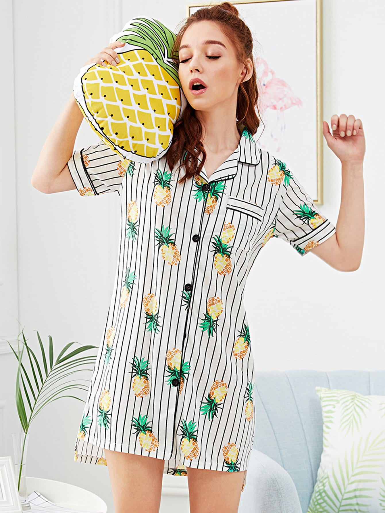 Pineapple Print Striped Night Dress sat0080 air paint gun pistolet peinture car paint sprayers lvmp 600ml cup gravity feed pneumatic spray gun