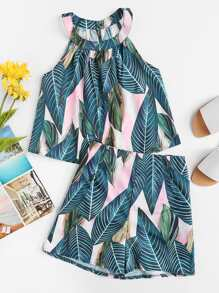 Tropical Halter Two-piece Outfit