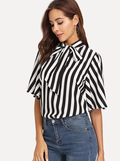 Tie Neck Flutter Sleeve Striped Top