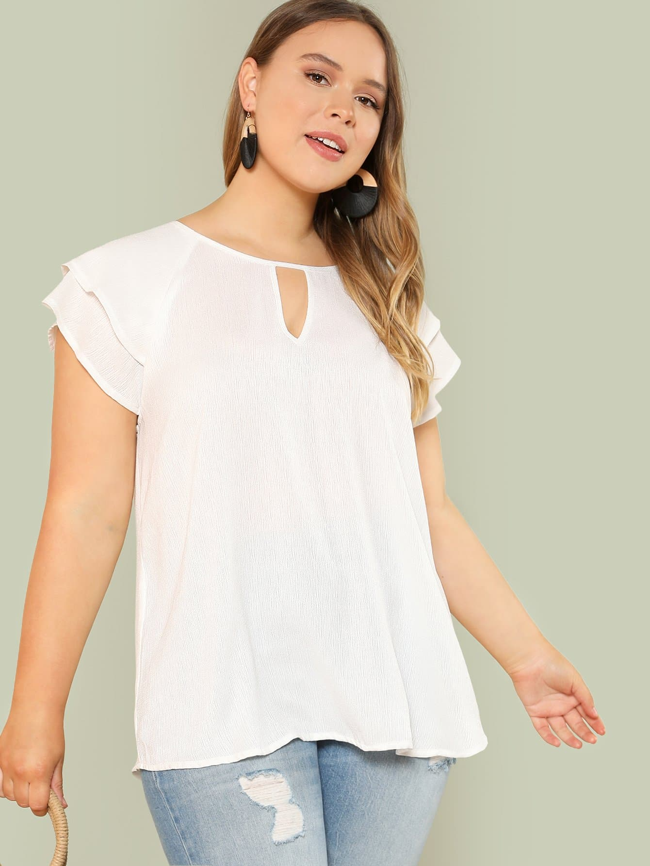 Plus Keyhole Neck Layered Cap Sleeve Top vitek vt 1177sr