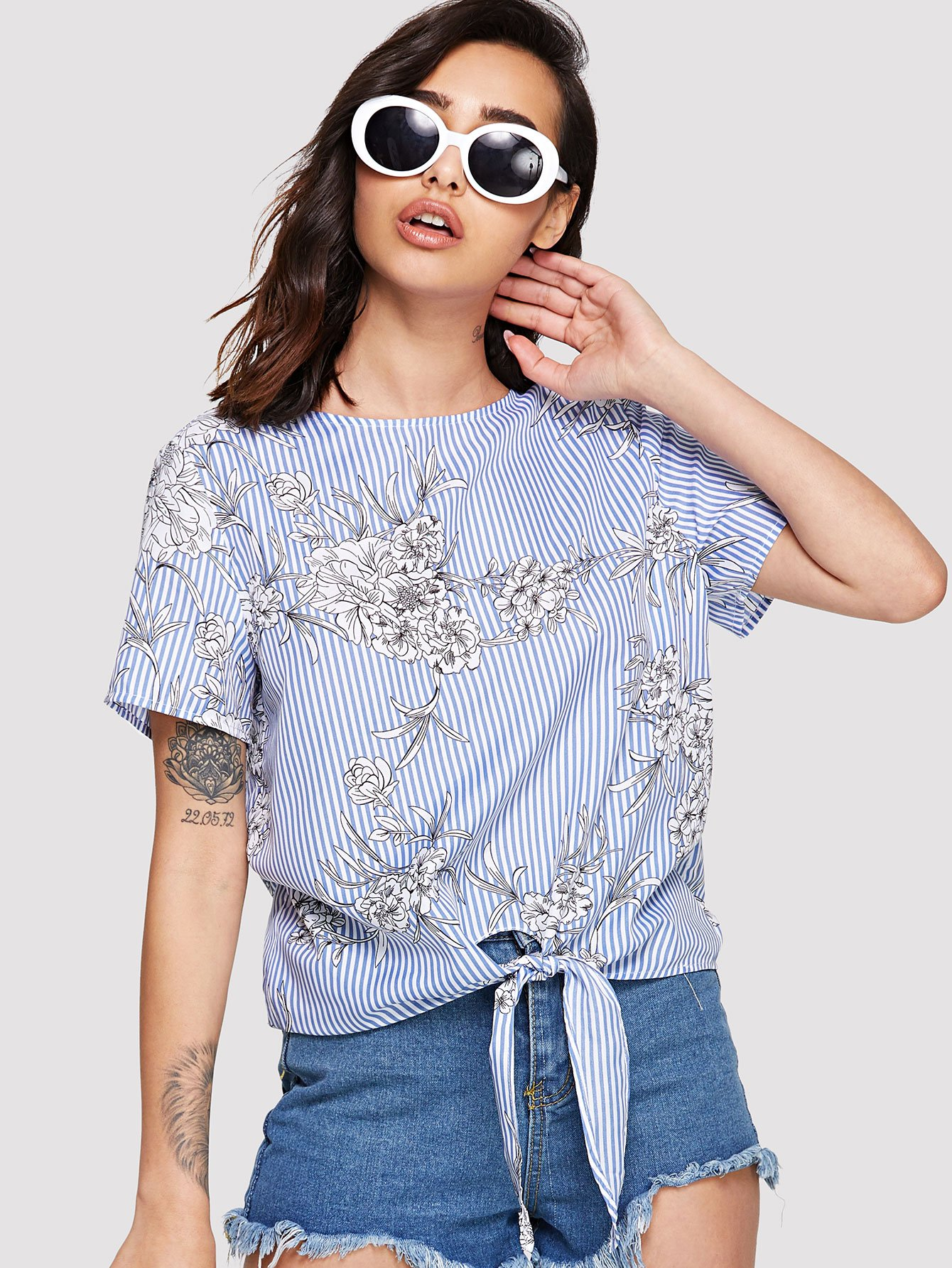 Knot Front Floral and Striped Top knot front floral print top
