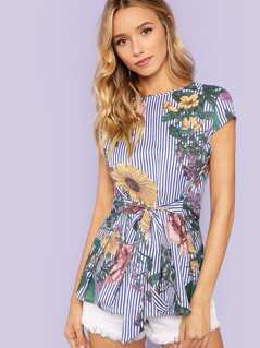 Waist Belted Floral Print Striped Top