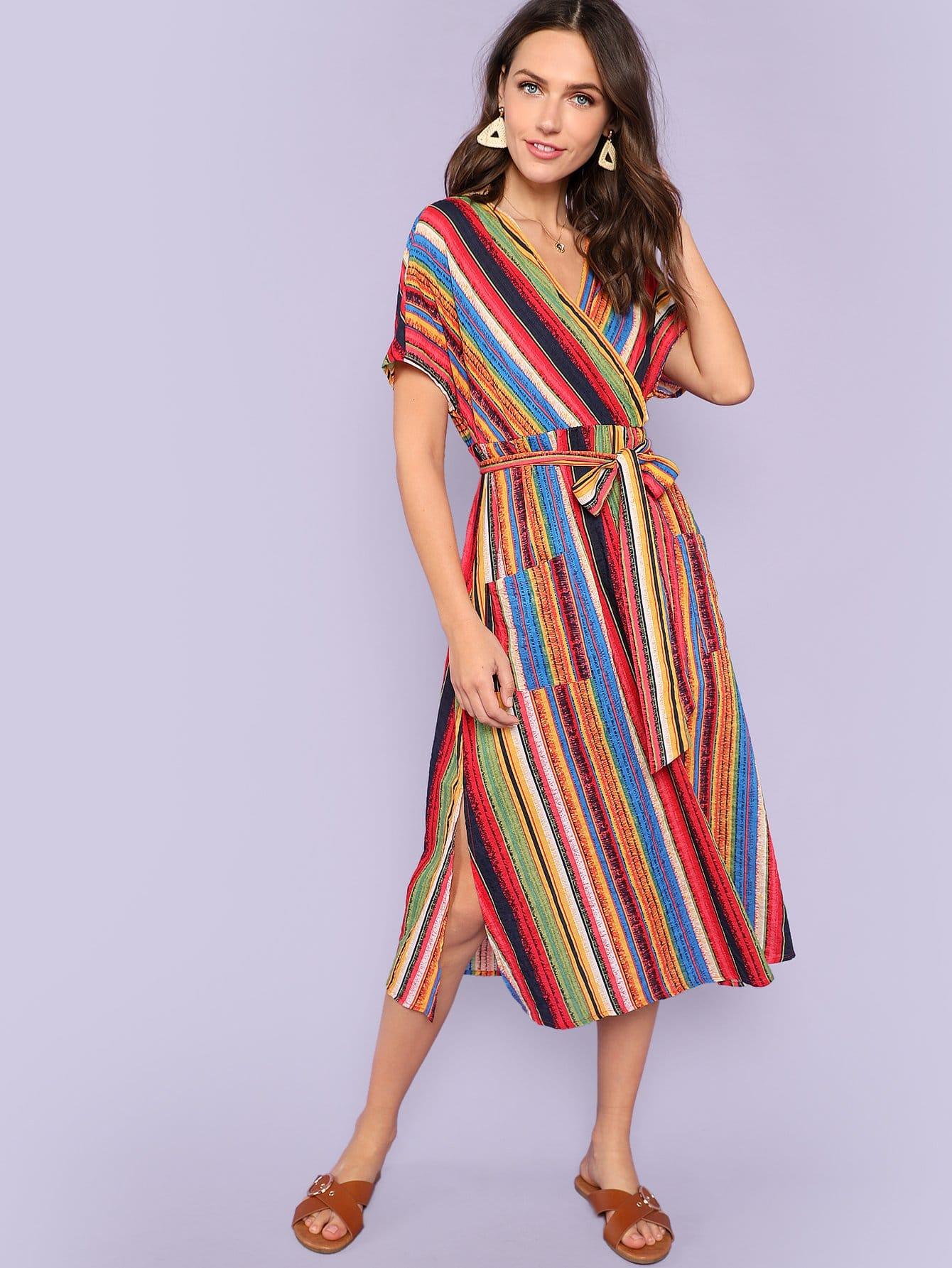 Купить Платье с запахом и полосками и поясом, Zorana, SheIn