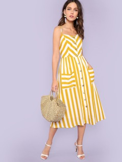 Button Through Shirred Back Pocket Striped Cami Dress