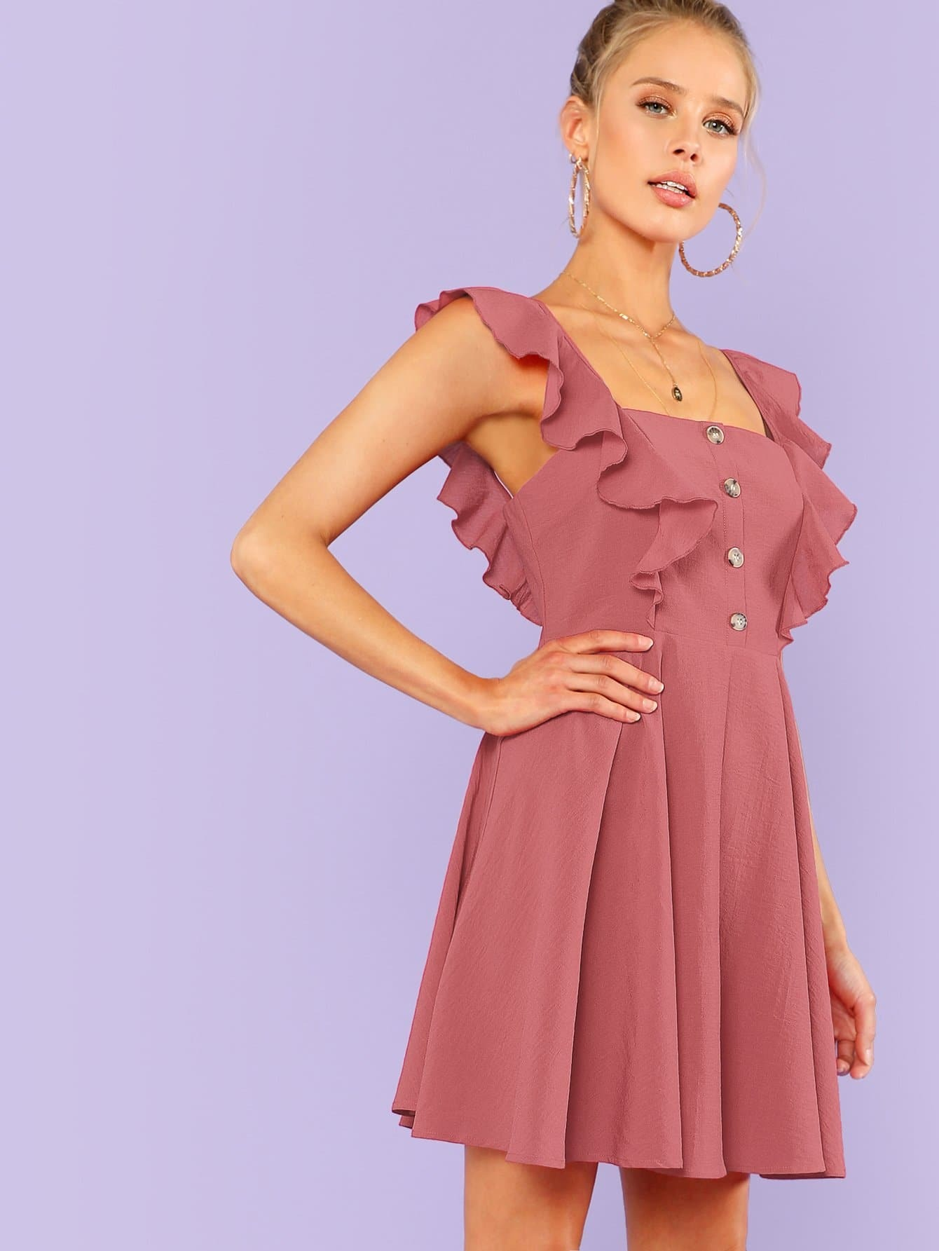 Fit & Flare Button Up Dress With Ruffle Strap surplice neck ruffle embellished button up dress