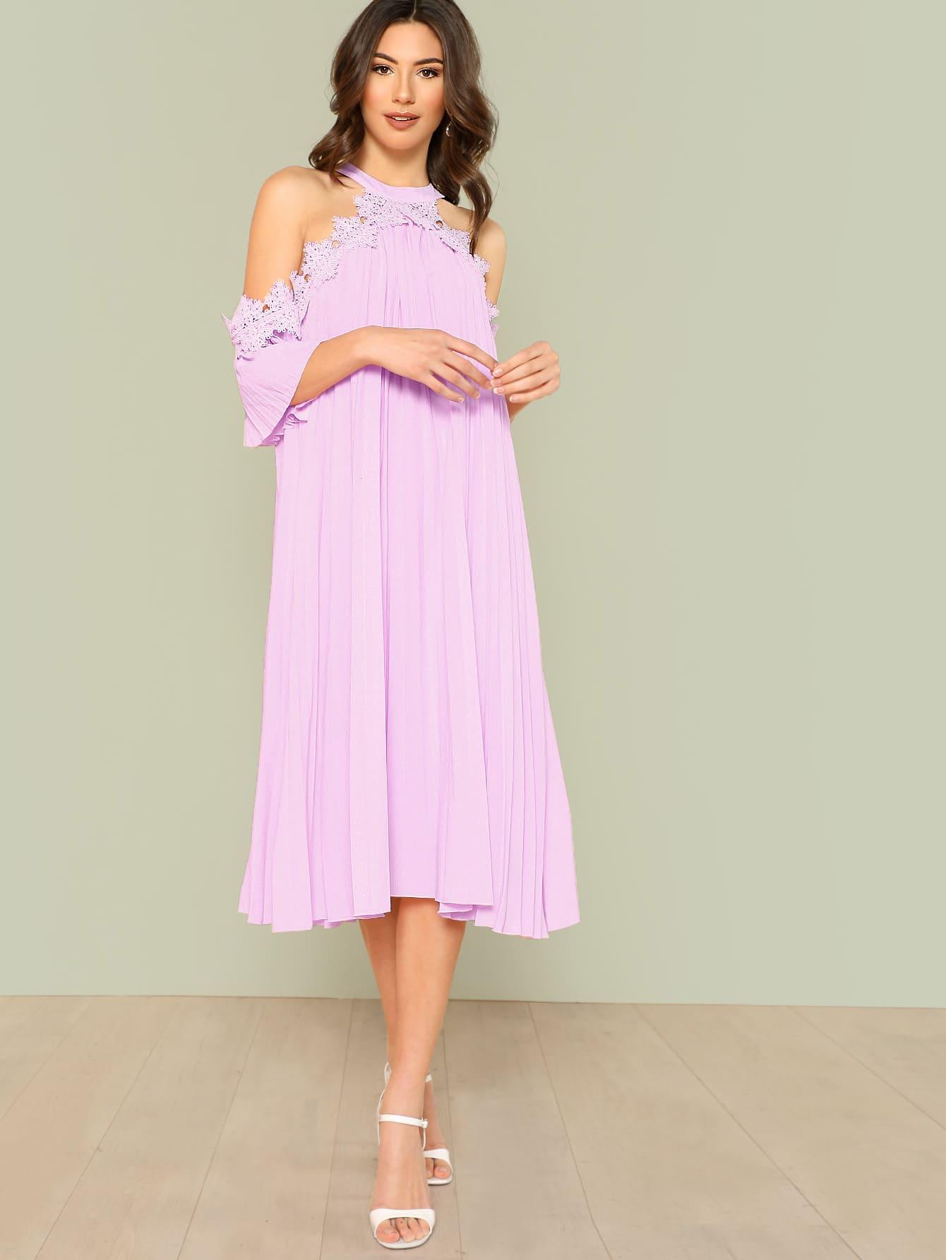 Кружевное аппликационное платье Halter Cold Shoulder Swing Dress