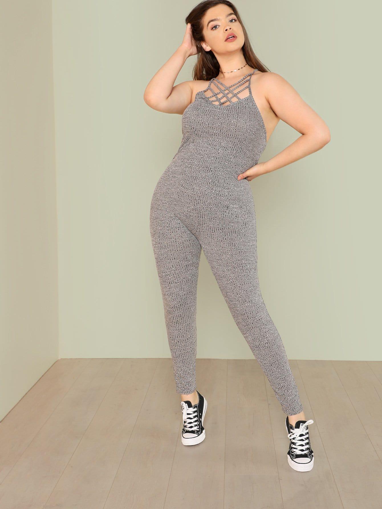 Caged Neck Skinny Solid Jumpsuit velvet skinny jumpsuit