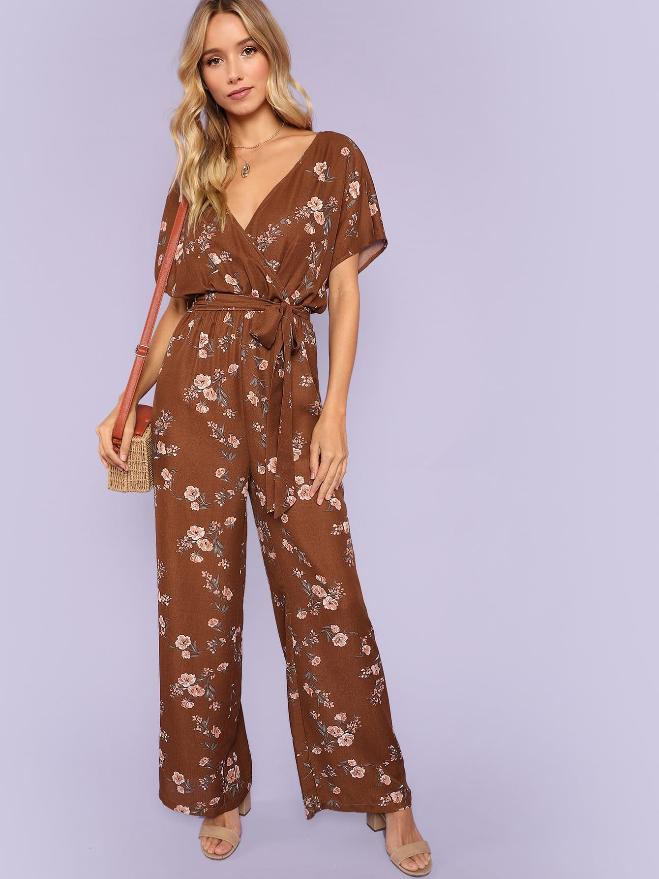 Floral Print Wide Leg Wrap Jumpsuit flamingo print wrap jumpsuit