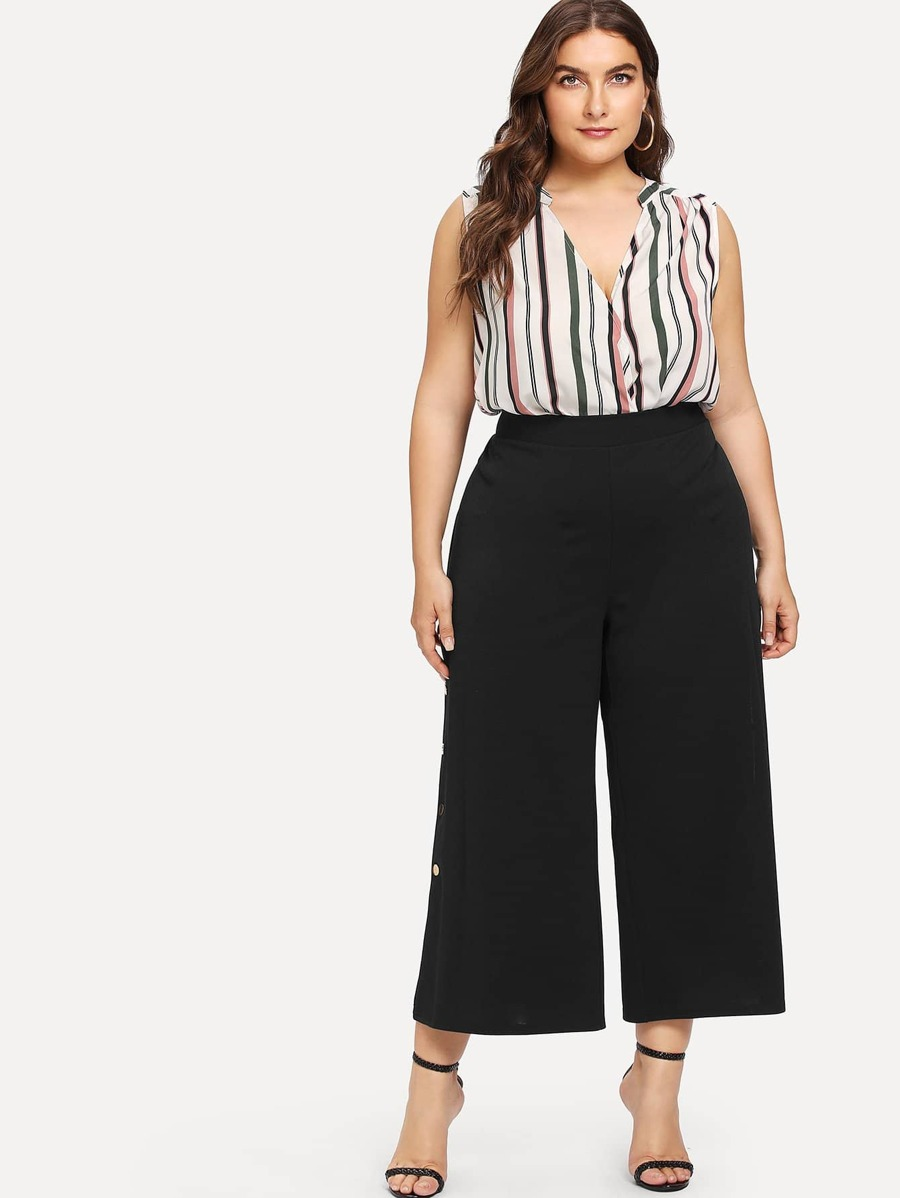 Button Side Wide Leg Crop Pants by Shein