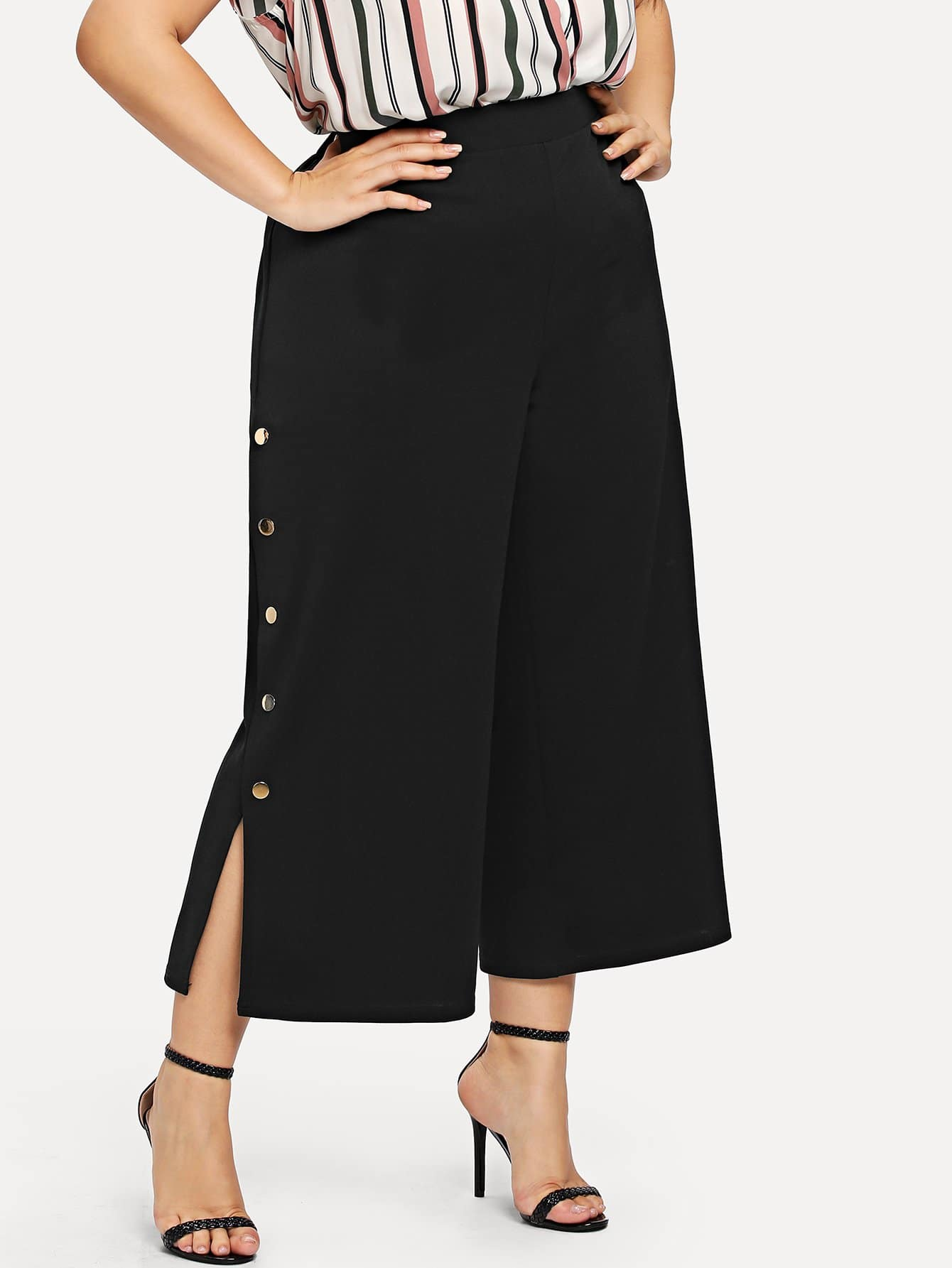 Button Side Wide Leg Crop Pants wide leg grid crop pants