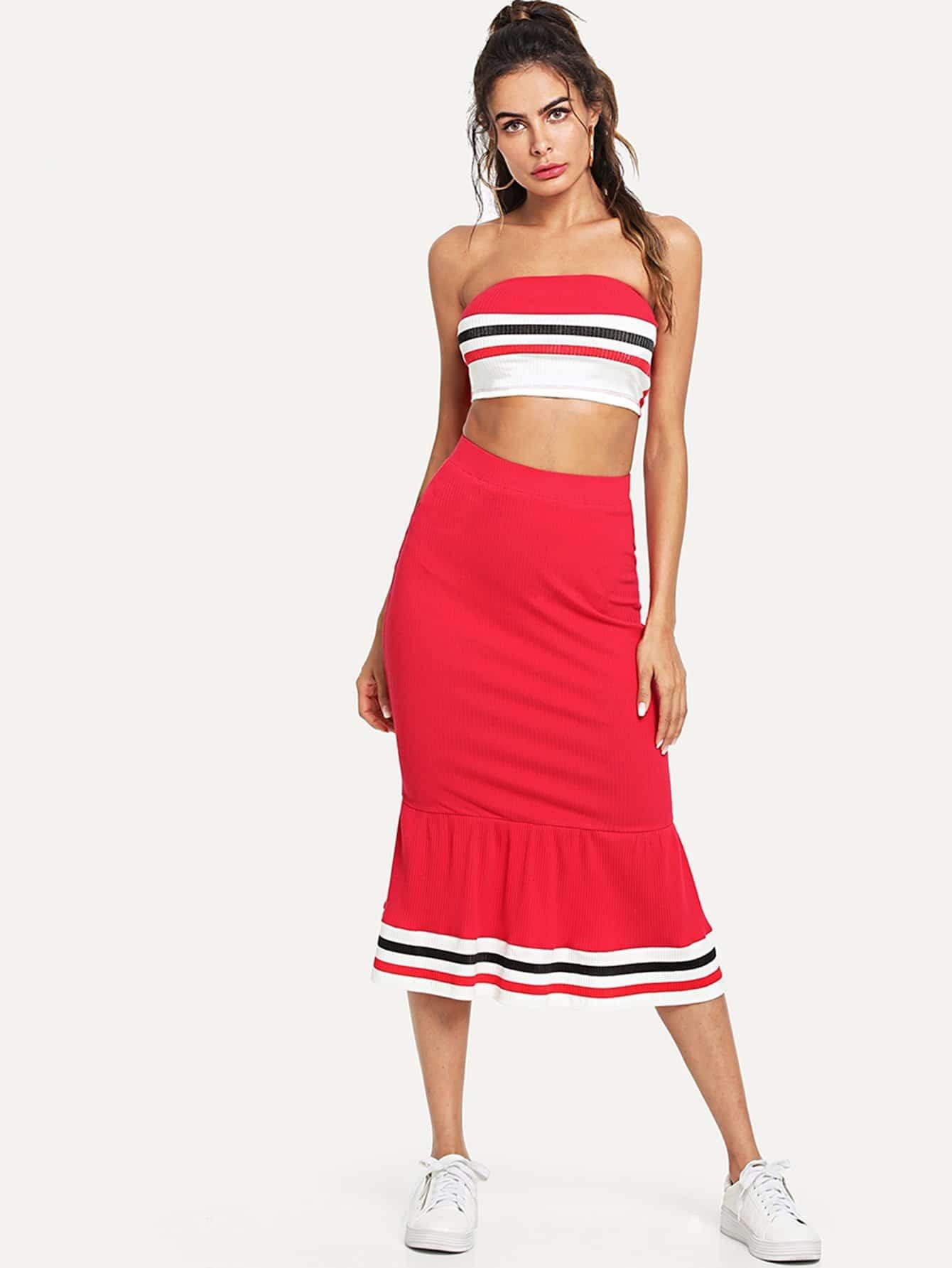 Striped Print Rib Knit Bandeau Top and Ruffle Hem Skirt Set ruffle shoulder rib knit peplum top