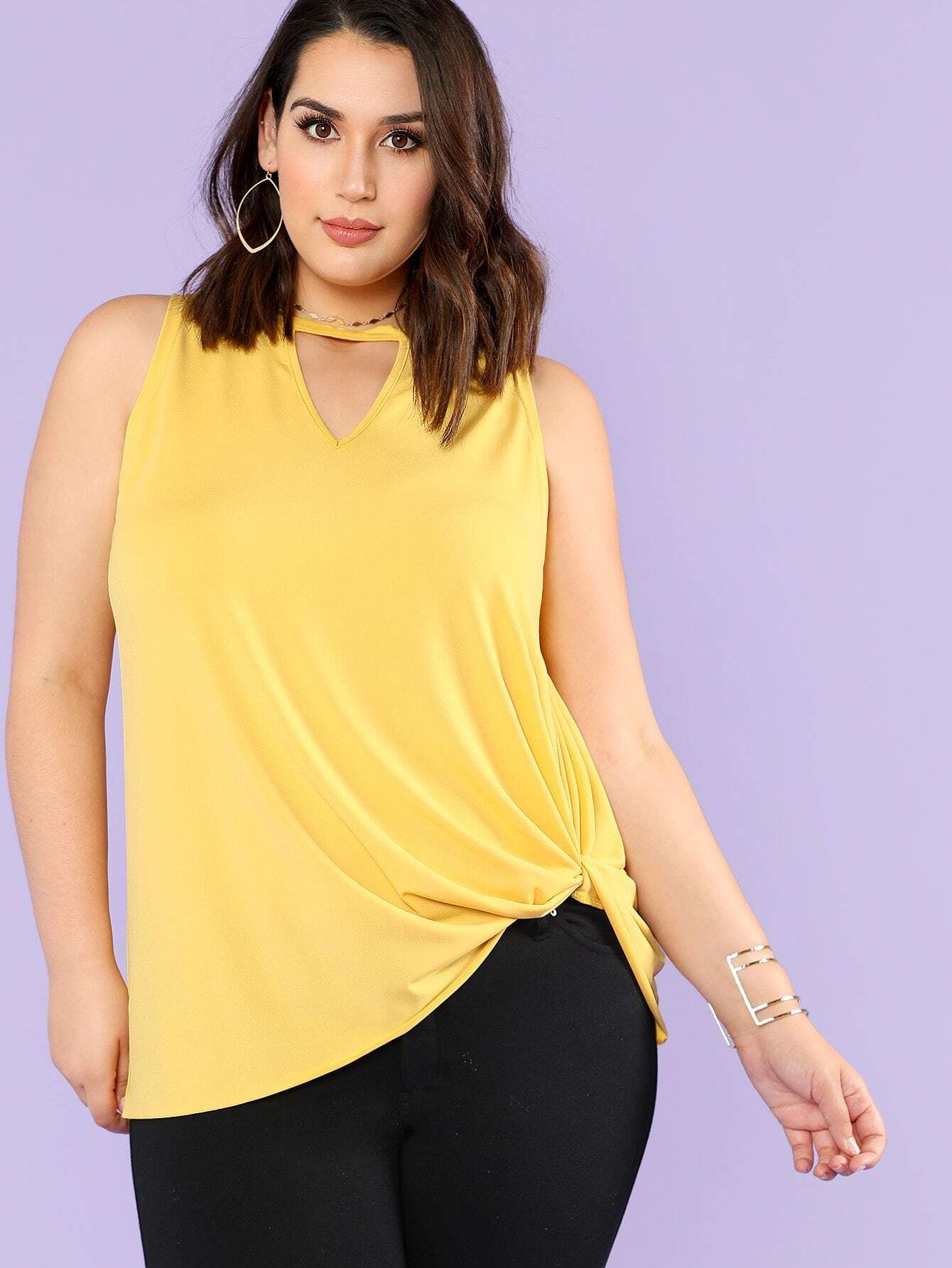V Cut Neck Swing Shell Top v neck crop shell top
