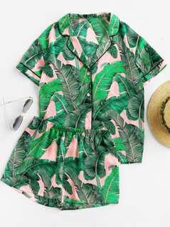 Palm Leaf Print Shirt & Shorts PJ Set