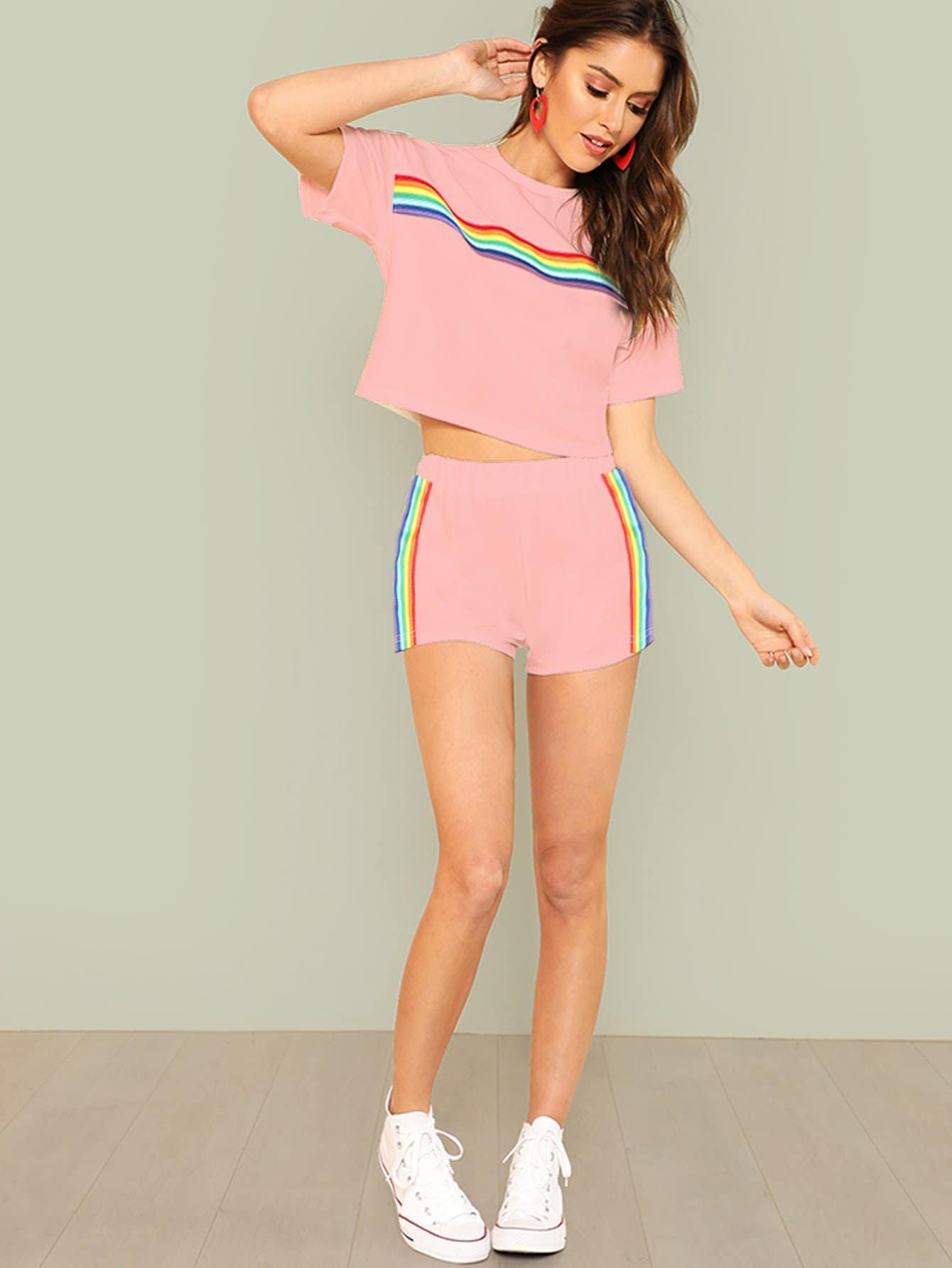 Rainbow Striped Crop Top & Shorts Set black choker sleeveless crop top