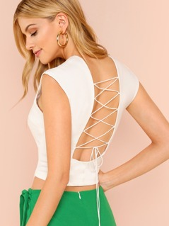 Cap Sleeve Crop Top with Lace Up Back