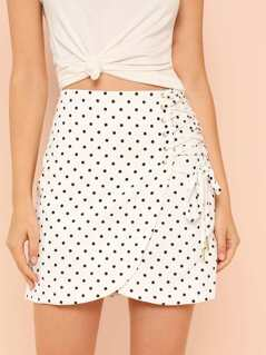 Polka Dot Lace Up Overlap Skirt