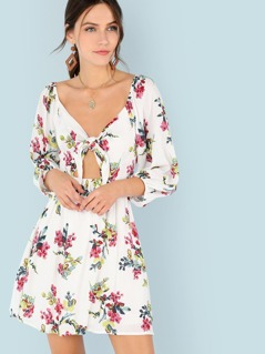 Tie Front Bishop Sleeve Floral Print Dress
