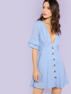Button Up Tiered Sleeve Dress