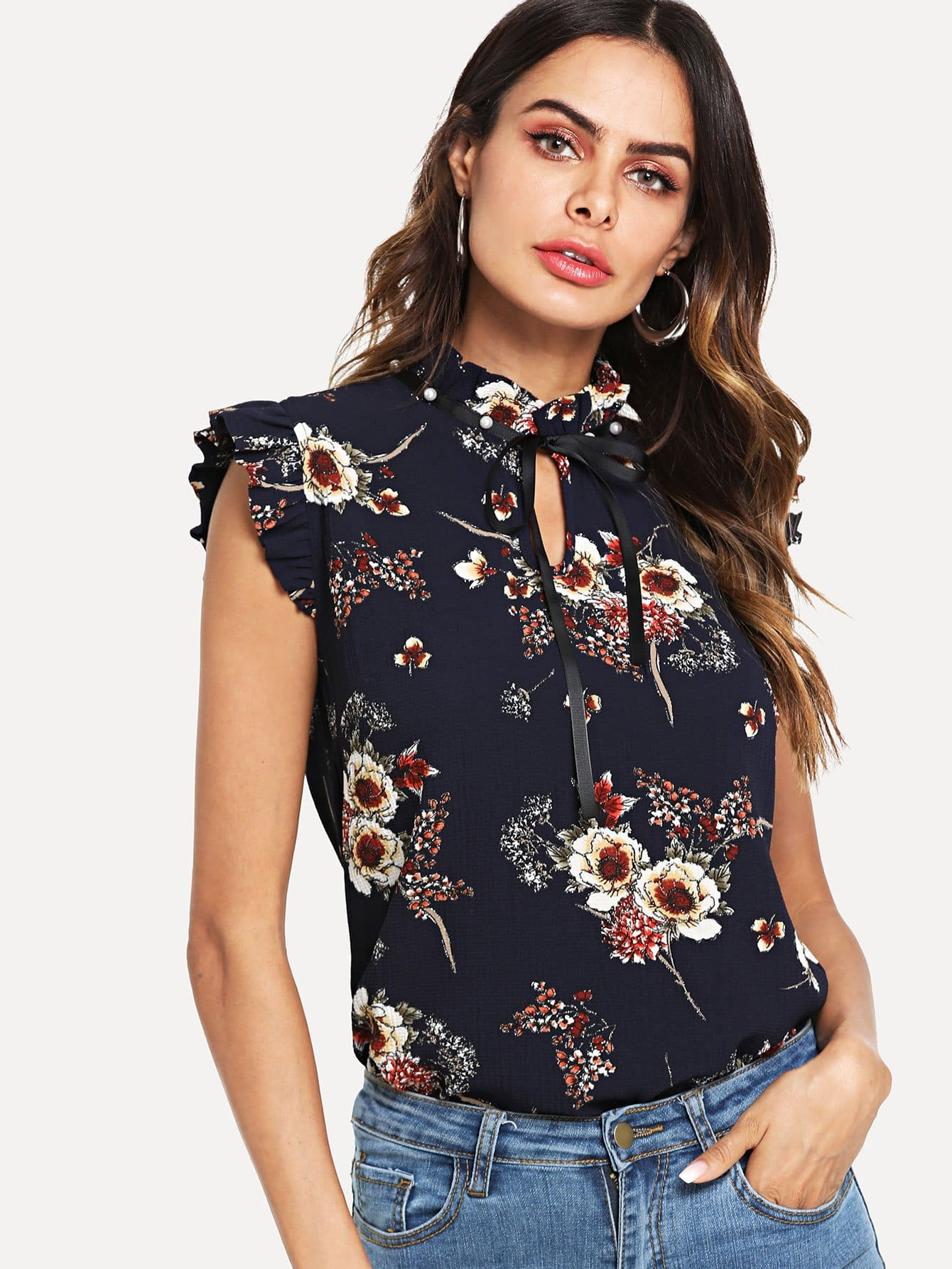 Pearl Embellished Frill Trim Floral Top frill trim floral print top