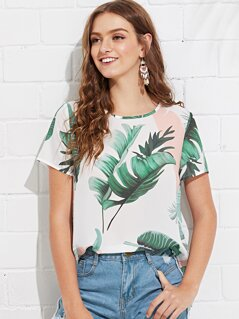 Jungle Leaf Print Keyhole Back Top