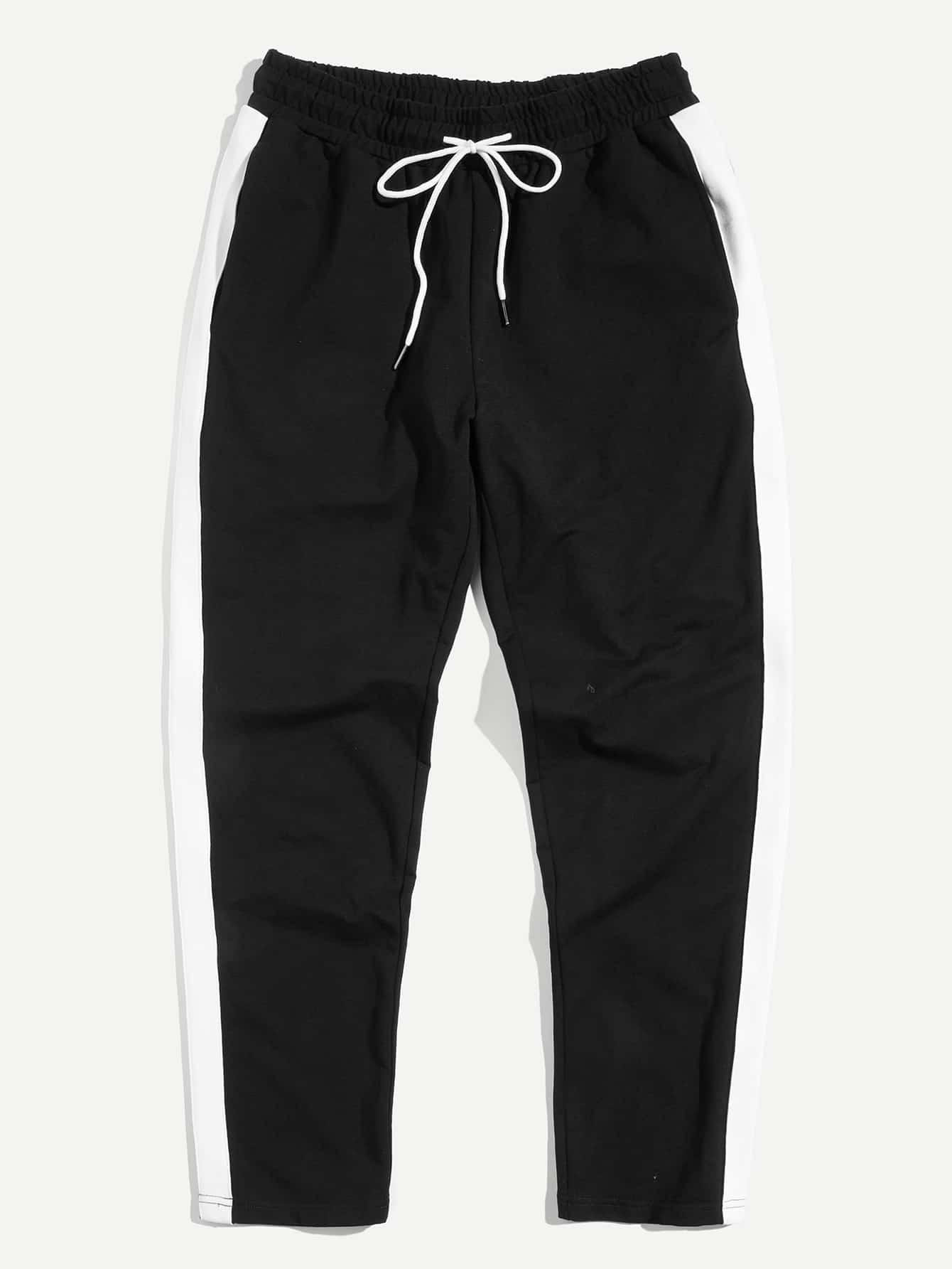 Men Contrast Tape Side Drawstring Waist Sweatpants contrast striped side sweatpants