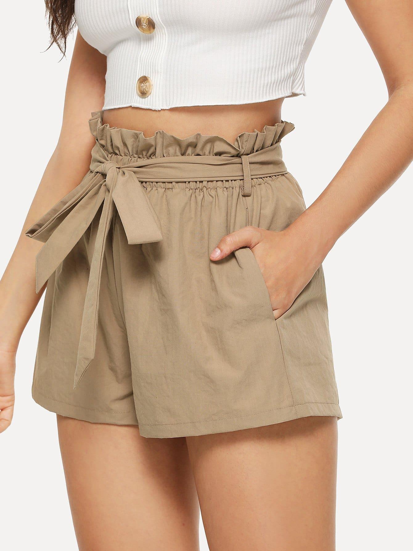 Ruffle Waist Self Belt Shorts ruffle waist self belt grid shorts