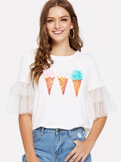 Layered Mesh Sleeve Ice Cream Print Tee