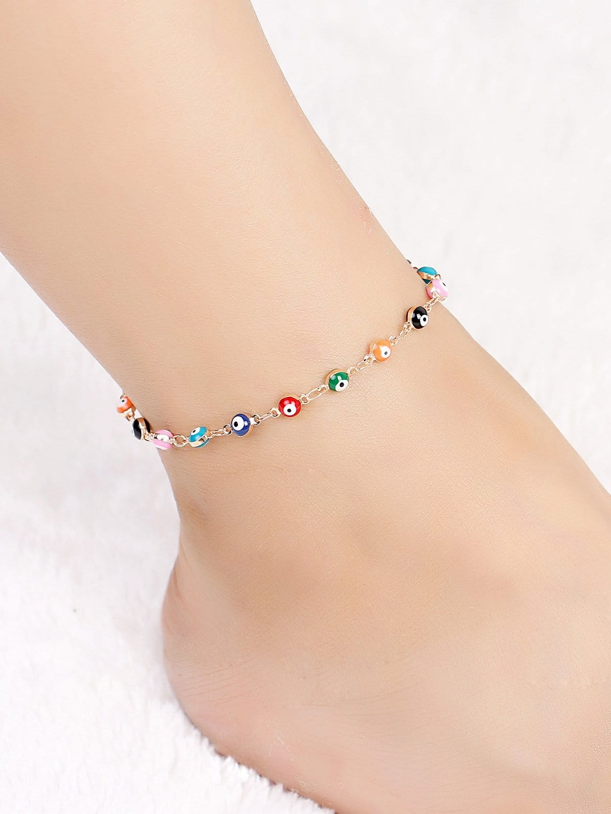 Color Block Eyes Detail Chain Anklet