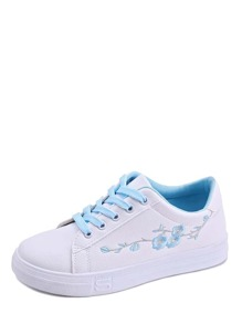 Flower Embroidery Lace-up Sneakers