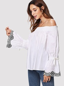 Bell Sleeve Floral Embroidered Off-Shoulder Blouse