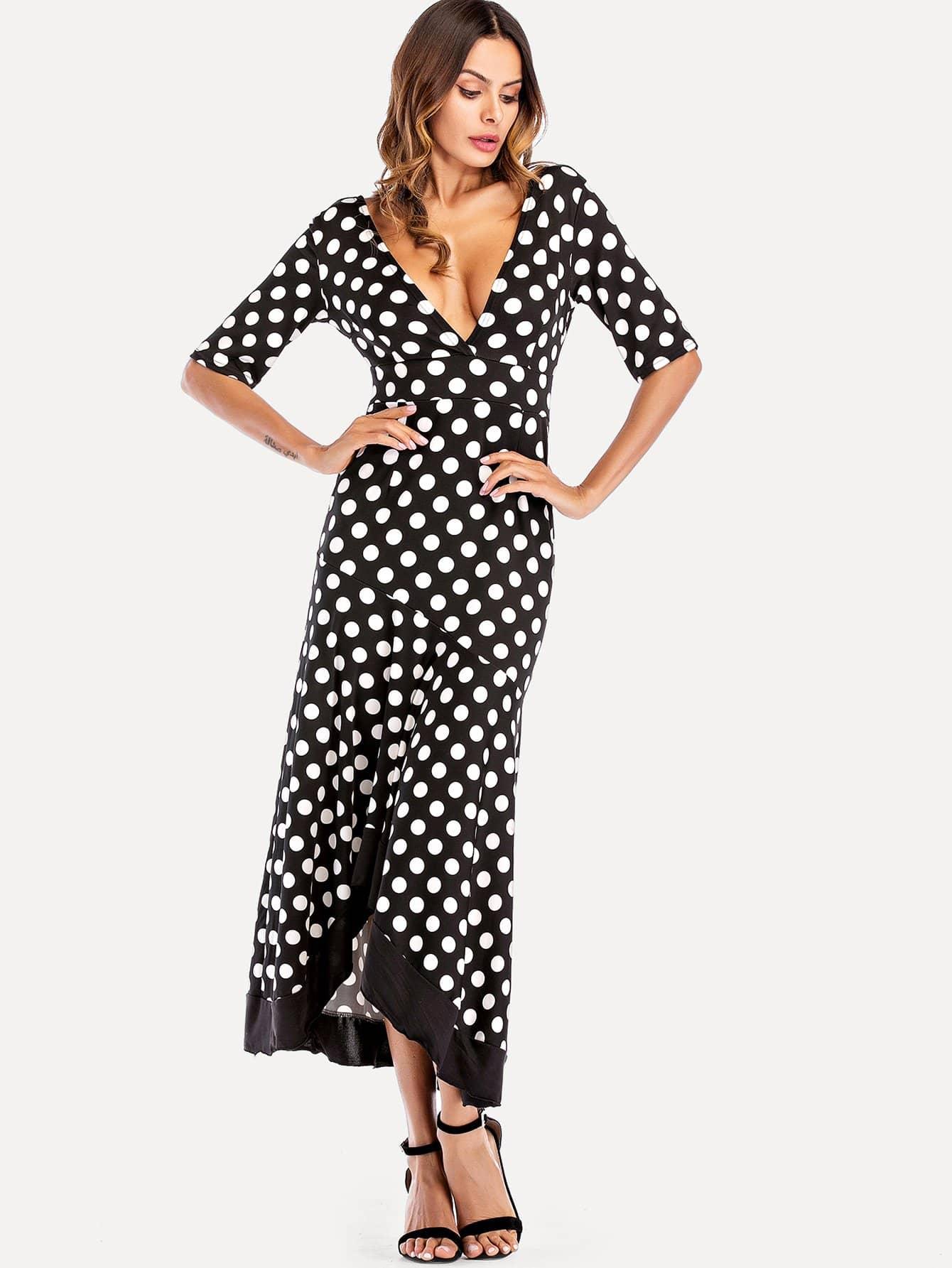 Dot Print Deep V Neck Ruffle Hem Dress wrap front tied v back ruffle hem dress